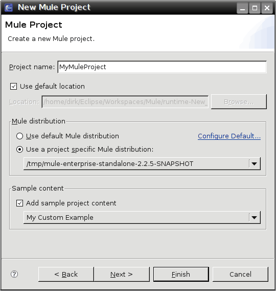 New project dialog with custom example