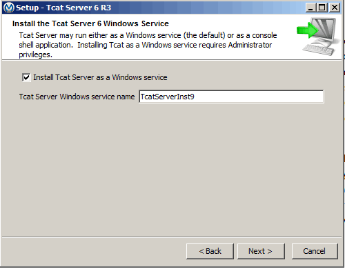 The easiest way to run Tomcat as a Windows service