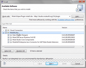Screenshot of Eclipse Update Manager with Mule Eclipse Plugin Install Site