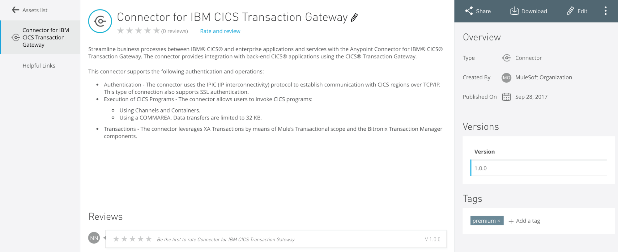 anypoint exchange ibm cics