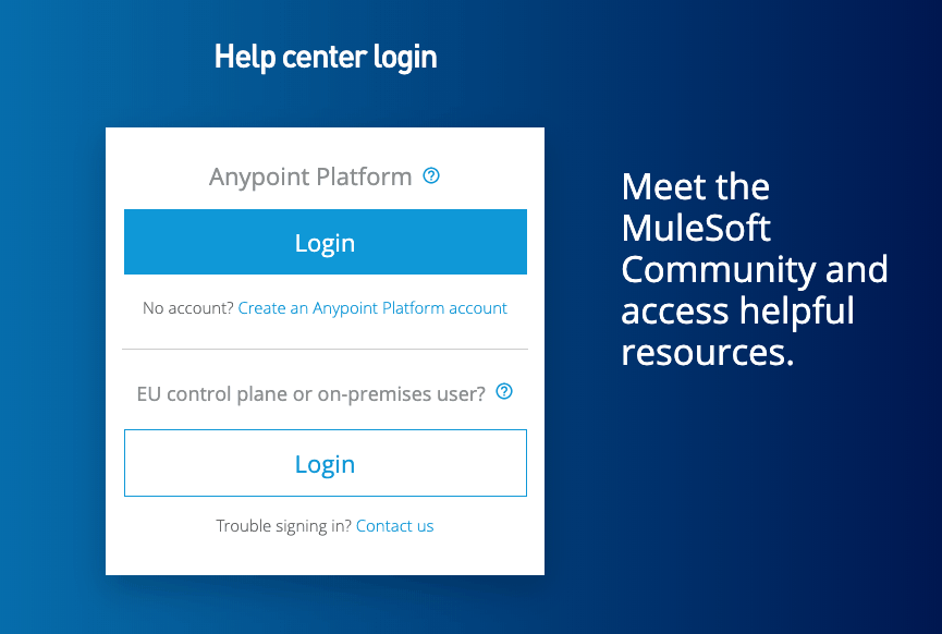 MuleSoft Help Center login