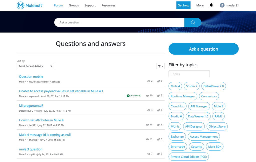 MuleSoft Help Center new forum interface