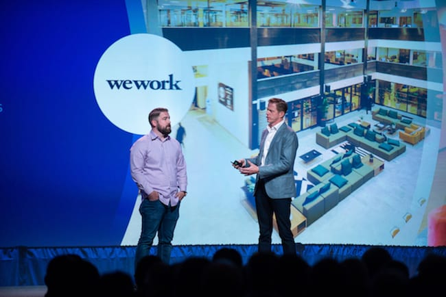 "WeWork's Michael Hite and MuleSoft founder Ross Mason during ""The democratization of innovation"" keynote."