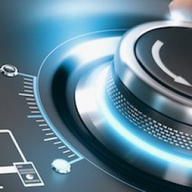 Digital transformation concept - hand turning dial